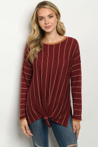 C54-A-3-T50207 BURGUNDY STRIPES TOP 2-2-2