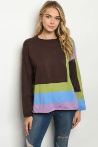 S25-8-1-S2001 BROWN MULTI SWEATER / 6PCS