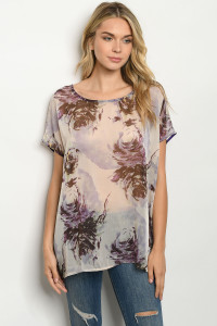 C42-A-1-T20874 OFF WHITE LAVENDER TOP 1-2-2