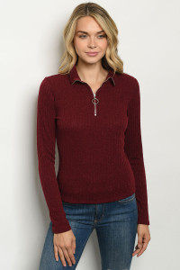 C10-B-1-T2034 BURGUNDY SWEATER 2-2-2