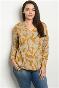 C82-B-1-T1499X MUSTARD LEAVES PRINT PLUS SIZE TOP 1-2-1