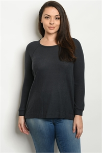 C70-A-2-T1372X CHARCOAL PLUS SIZE SWEATER 2-2-2