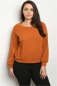 C88-B-1-T3320X MUSTARD PLUS SIZE SWEATER 2-2-2