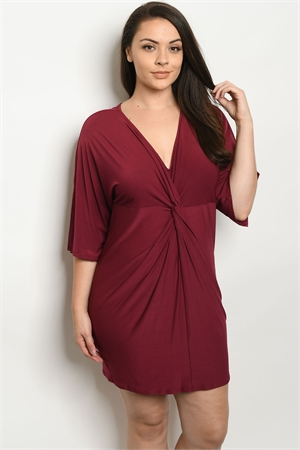 S22-A-1-D8463X BURGUNDY PLUS SIZE DRESS 2-2-2