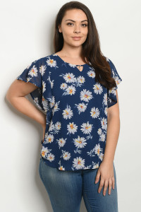S22-10-1-T98012X NAVY FLORAL PLUS SIZE TOP 3-2-1