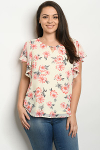S14-10-4-T98012X CREAM FLORAL PLUS SIZE TOP 2-2-2