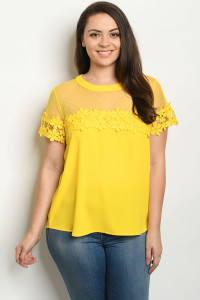 S14-9-4-T38839X YELLOW PLUS SIZE TOP 2-2-2