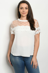 S14-9-4-T38839X WHITE PLUS SIZE TOP 2-2-2