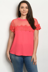 S14-9-4-T38839X CORAL PLUS SIZE TOP 2-2-2