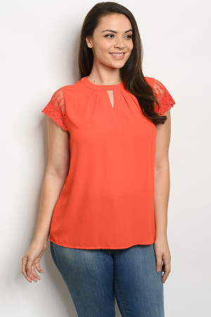 S5-1-4-T81226X CORAL PLUS SIZE TOP 2-2-2