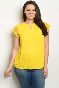 S5-1-4-T81226X YELLOW PLUS SIZE TOP 2-2-2