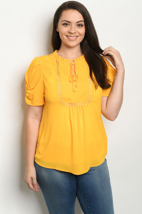 S14-9-4-T81247X MUSTARD PLUS SIZE TOP 2-2-2
