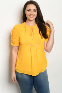 S22-10-1-T81247X MUSTARD PLUS SIZE TOP 2-2-1