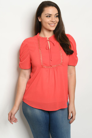 S14-9-1-T81247X CORAL PLUS SIZE TOP 2-2-2