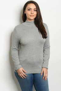 S6-7-3-T1305X GRAY PLUS SIZE SWEATER 2-2-2