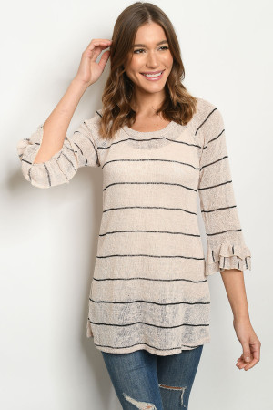 C46-A-2-T1421 TAN BLACK STRIPES TOP 2-2-2