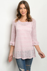 C46-A-2-T1421 PINK WHITE STRIPES TOP 2-2-2