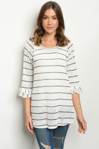 C52-A-1-T1421 WHITE BLACK STRIPES TOP 2-3-3