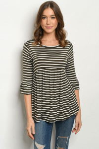 C48-A-1-T2985 OLIVE WHITE STRIPES TOP 2-2-2-2