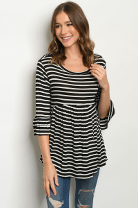 C48-A-1-T2985 BLACK WHITE STRIPES TOP 2-2-2-2