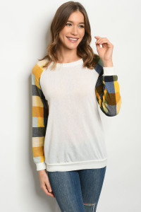 C52-A-2-T3285 IVORY CHECKERED TOP 2-2-2