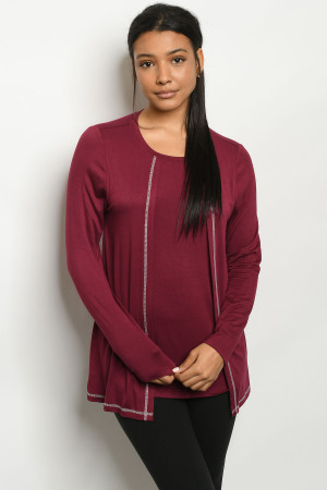 S18-10-3-T383 BURGUNDY TOP 2-2-2