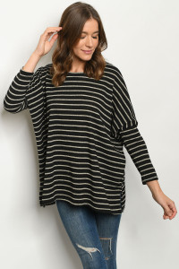C94-A-1-T9705 BLACK STRIPES TOP 3-2-1