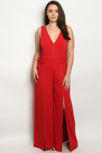 S11-14-2-J1475X RED PLUS SIZE JUMPSUIT 2-2-2