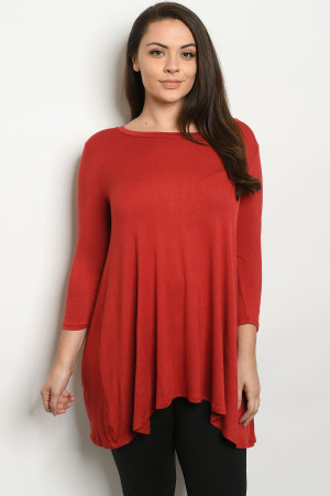 S14-1-1-T6120X RUST PLUS SIZE TOP 2-2-2