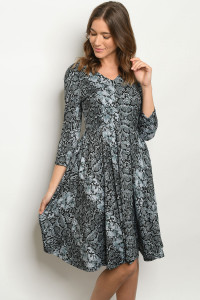 S15-12-1-1D44391 BLACK GRAY SNAKE PRINT DRESS 1-2-2