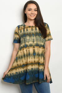 S14-5-1-T43809X TURQUOISE OLIVE TIE DYE PLUS SIZE TOP 3-2-1