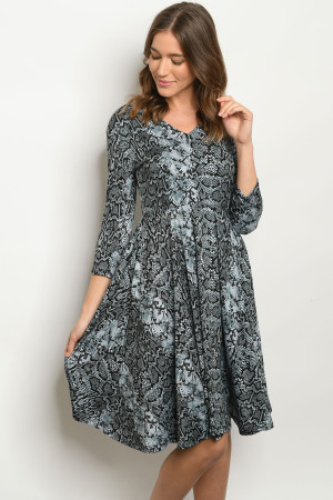 S18-11-2-D44391X BLACK GRAY SNAKE PRINT PLUS SIZE DRESS 2-2-2