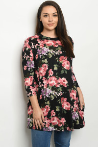 S20-12-3-T1265X BLACK FLORAL PLUS SIZE TOP / 4PCS
