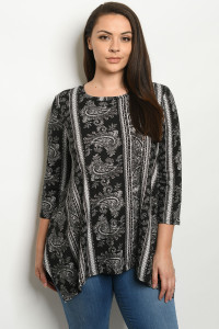S9-10-1-T1266X BLACK IVORY PRINT PLUS SIZE TOP 3-2-1