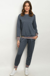 S18-12-2-SET1101X DENIM MULTI PLUS SIZE SWEATER & PANTS SET / 3SETS