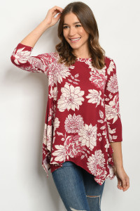 S18-12-2-T1266X WINE IVORY PRINT PLUS SIZE TOP 1-2-2