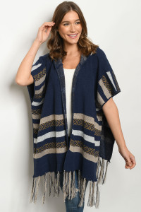 S25-8-1-P2278 NAVY TAUPE PONCHO 2-2-2