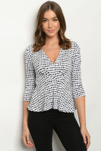 C76-A-1-T7947 WHITE NAVY PRINT TOP 2-2-2