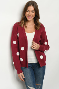 S11-4-2-C116 BURGUNDY IVORY WITH DOTS SWEATER 2-2-2