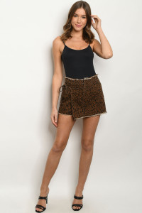 S11-3-3-S7727 BROWN ANIMAL PRINT SHORT 3-2-1