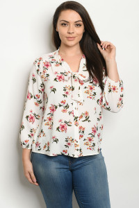 S10-5-1-T10010X OFF WHITE FLORAL PLUS SIZE TOP 2-2-2