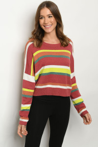 S11-2-2-T8182 BRICK MULTI STRIPES SWEATER 3-2-1