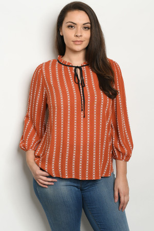S22-13-2-T10714X RUST PRINT PLUS SIZE TOP 2-2-2