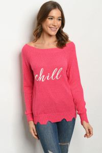 S9-2-1-S3064 FUCHSIA CHILL PRINT SWEATER 3-2-1