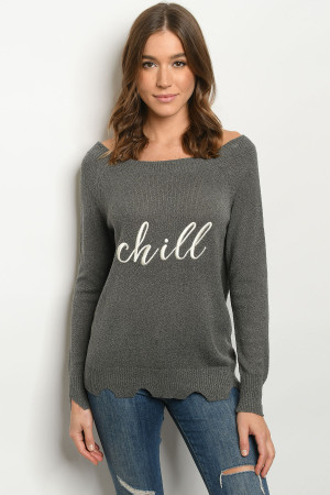 S9-2-1-S3064 CHARCOAL CHILL PRINT SWEATER 3-2-1