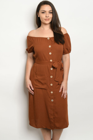 S19-11-2-D10327X RUST PLUS SIZE DRESS 3-2-2