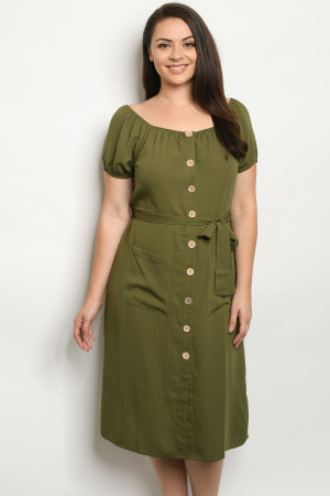 S19-11-2-D10327X OLIVE PLUS SIZE DRESS 3-2-3