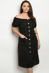 SA4-0-1-D10327X BLACK PLUS SIZE DRESS 2-2-2