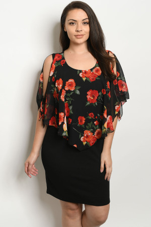 C4-A-1-D130B2X BLACK FLORAL PLUS SIZE DRESS 2-2-2