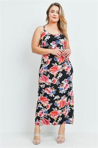 C10-A-1-D1035P6X BLACK FLORAL PLUS SIZE DRESS 2-2-2